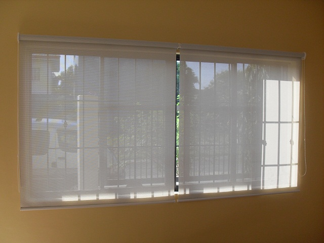 Installed Roller Blinds at Caloocan City ; White - sunscreen material