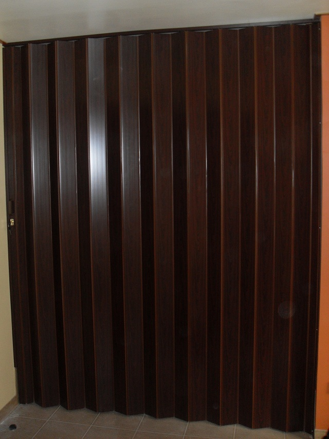 PVC Accordion Door : Mahogany Color