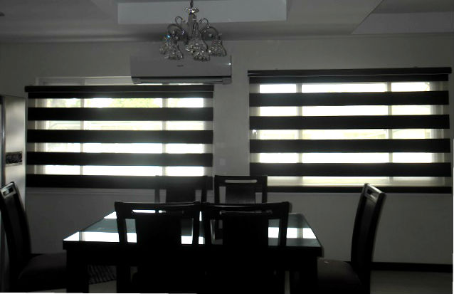 Installed Combi Blinds in a Dining Area