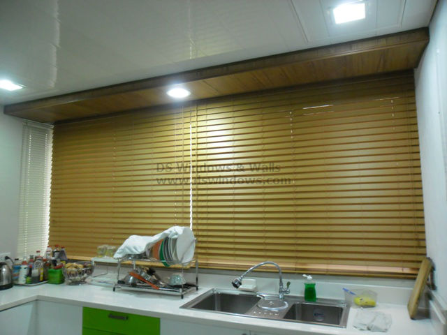 Water Resistant Dura Wood Blinds for Kitchen