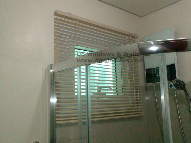 MIni Blinds Installed in the Bathroom.