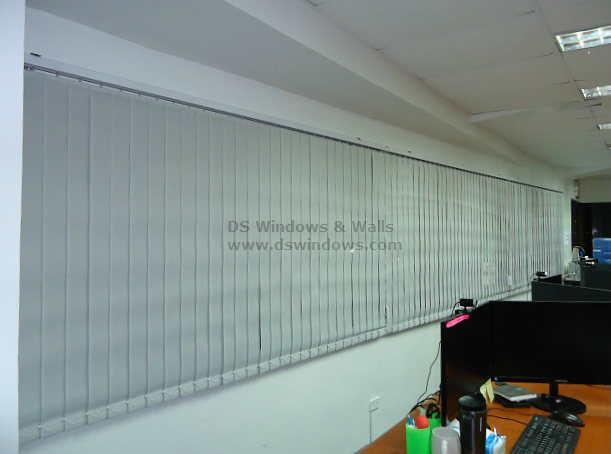 Fabric Vertical Blinds in an Office Wide Window