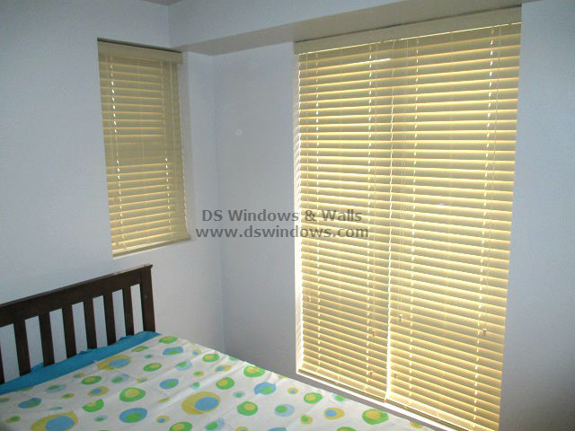 Inside Mount Faux Wood Blinds installed in Las Piñas City, Philippines