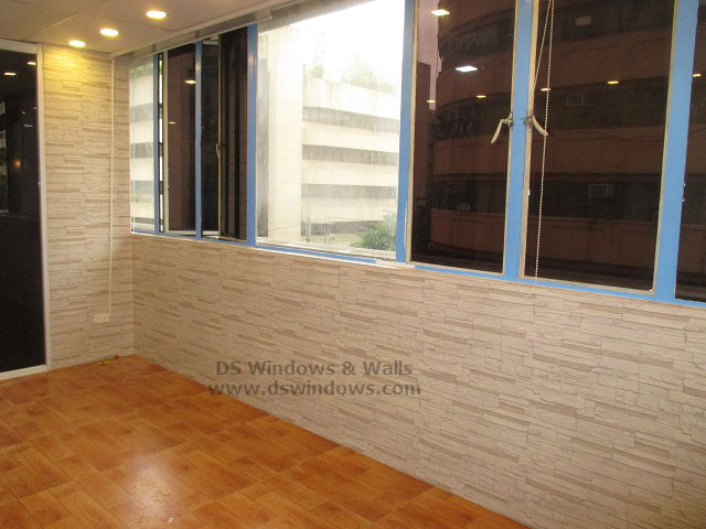Laminated Vinyl Wallcovering ~ Brick style wallpaper with laminated wood flooring to