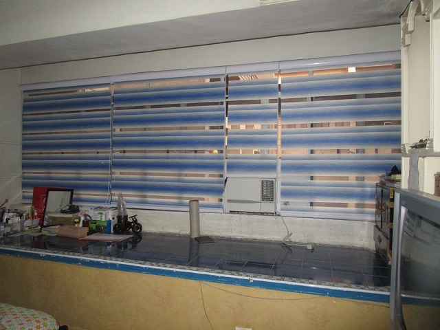 Blue combi curtains
