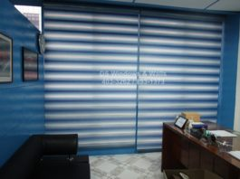 Blue combi blinds with color coordinated valence